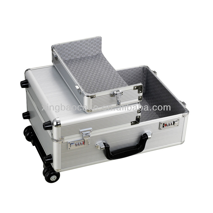 Plain aluminum hard luggage case, Aluminum Trolley Case, Travel Flight Hard Case Two Way Open Rolling Trolley Case