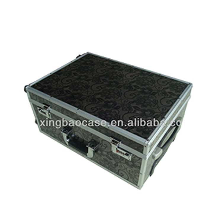 Printing sheet trolley bags handle,tempering glass case,case travel luggage with polyester and pocket inner