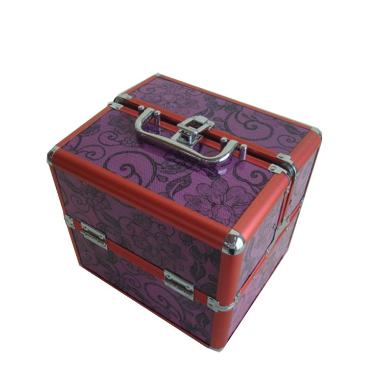 Trade assurance cheap aluminum cosmetic case for travel with nylon box,red aluminum travel jewelry case