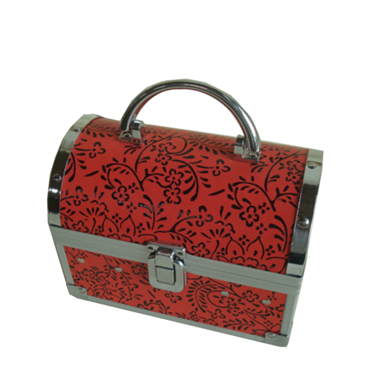 Red card cosmetic case ,makeup cosmetic bags with nylon box, cosmetic travel cases