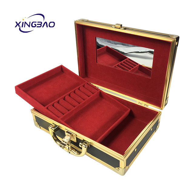 Buy small products black leather smart portable jewelry box and mirror