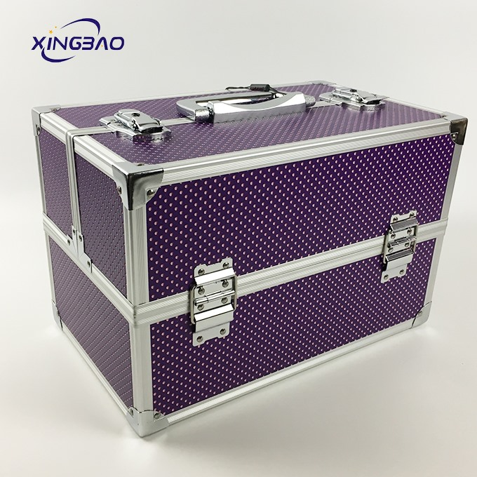 Big Purple Professional Wave Point Pattern Make Up Atist Train Case
