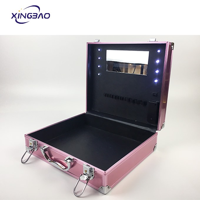 Pink Aluminum Travel Makeup Cosmetic Case With Lights And Mirror