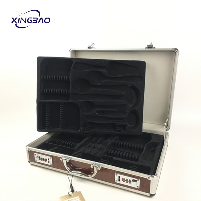 Customized Size Outdoor Barbecue Wood-grain Aluminum Kitchenware Storage Box For Tool Case