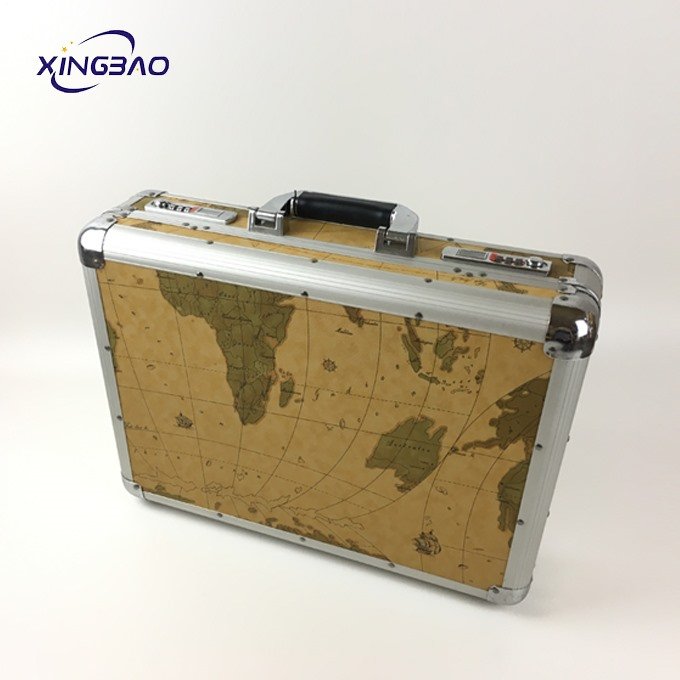 Customizable red plaid pattern aluminum double open hard cosmetic case - 副本 - 副本 - 副本Yellow vintage business PVC leather briefcase for men