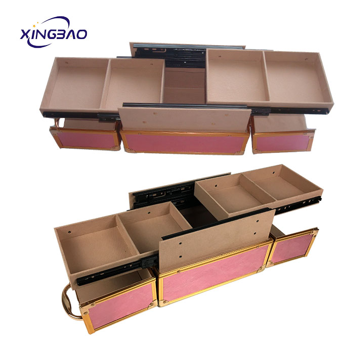 Professional Pink Aluminum PVC Leather Cosmetics Makeup Case For Beauty Makeup
