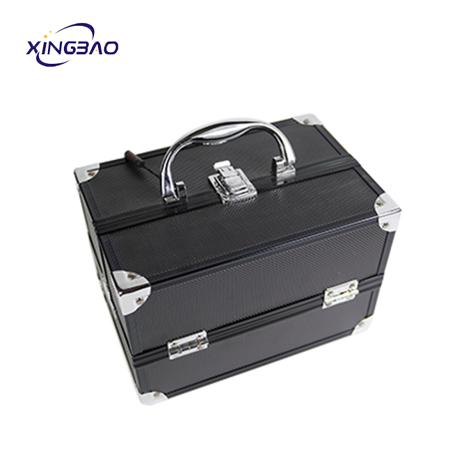 mini black   organizer cosmetic small  makeup box case portable makeup case ABS aluminum cosmetic case